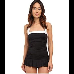 Ralph Lauren Black Ruched Skirted 1pc Swimsuit